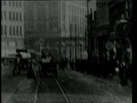 february 1, 1906 pov onboard streetcar driving down boston street / boston, massachusetts, united states - anno 1906 video stock e b–roll