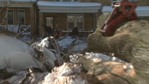 february 11, 2010 crane and residents clearing fallen trees in residential area after blizzard / washington, d.c., united states - baumstumpf stock-videos und b-roll-filmmaterial