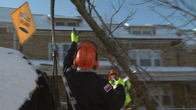 february 11, 2010 repairmen cutting and removing part of fallen tree in residential area / washington, d.c., united states - baumstumpf stock-videos und b-roll-filmmaterial