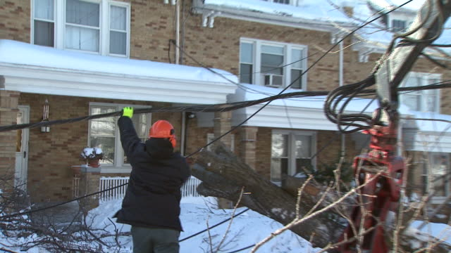 february 11, 2010 repairmen working around fallen tree and holding up part of telephone wire as crane clears part of fallen tree in residential area... - zoom out stock videos & royalty-free footage