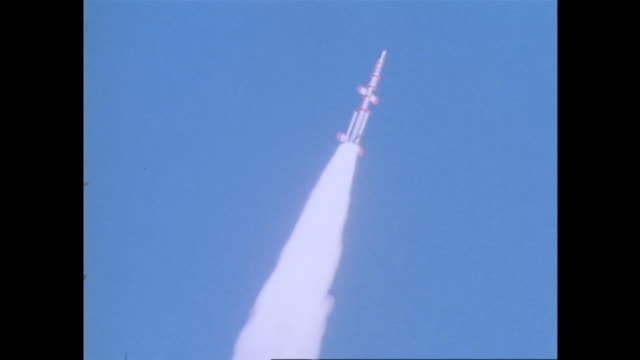 february 11 the first japanese satellite oosumi carried by the rocket lambda 4s no5 launched from kagoshima space center locates in uchinouracho... - 科学技術点の映像素材/bロール