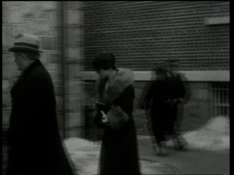 february 13, 1935 montage people entering courthouse including john f. condon / flemington, new jersey, united states - 1935 stock videos & royalty-free footage
