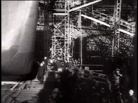 february 14 1939 the german battleship bismark is launched sliding down ramp / hamburg germany - kriegsmarine stock videos & royalty-free footage