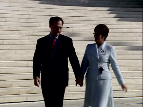 february 16 2006 zo justice alito and family standing in front of the us supreme court building / washington dc united states - samuel alito stock videos & royalty-free footage
