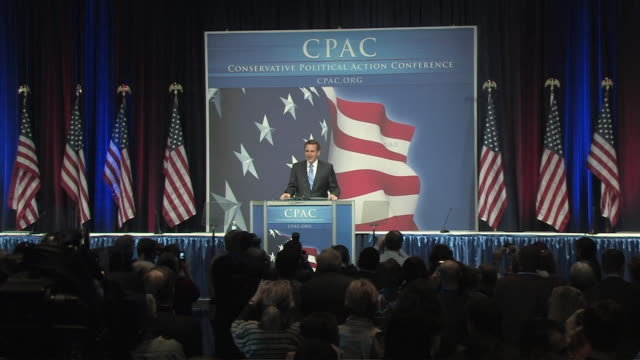 february 19 2010 republican minnesota governor tim pawlenty addressing cpac in washington dc / pawlenty mentions the shutdown of us congress due to... - political action committee bildbanksvideor och videomaterial från bakom kulisserna