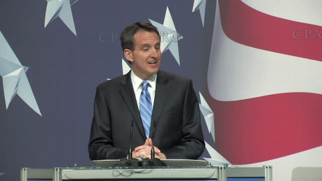 february 19 2010 republican minnesota governor tim pawlenty addressing cpac in washington dc - political action committee stock videos & royalty-free footage