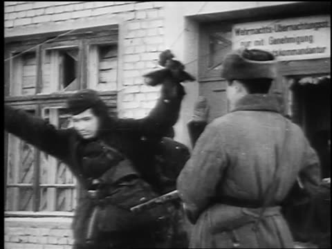 b/w february 1943 german soldiers surrender with arms up to soviet soldiers in siege of stalingrad - volgograd stock videos & royalty-free footage