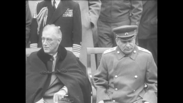 [february 1945, yalta, crimea, ussr] british prime minister winston churchill, us president franklin roosevelt, and general secretary of the... - soviet military stock videos & royalty-free footage