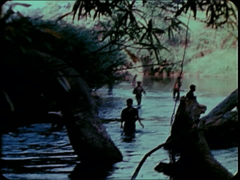 february 1969 infantry advancing through rice paddies / pleiku, south vietnam - infantry stock videos & royalty-free footage