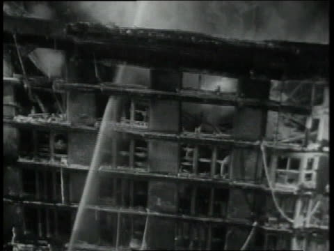 February 2 1931 TU Water shooting from hose at building of five alarm fire