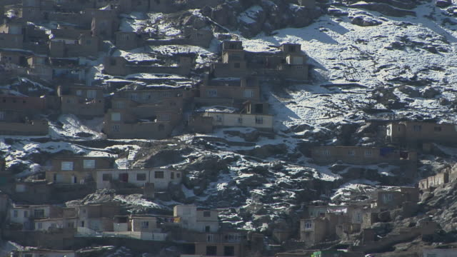 february 2009 ws view of houses in winter / kabul afghanistan - full frame stock videos & royalty-free footage