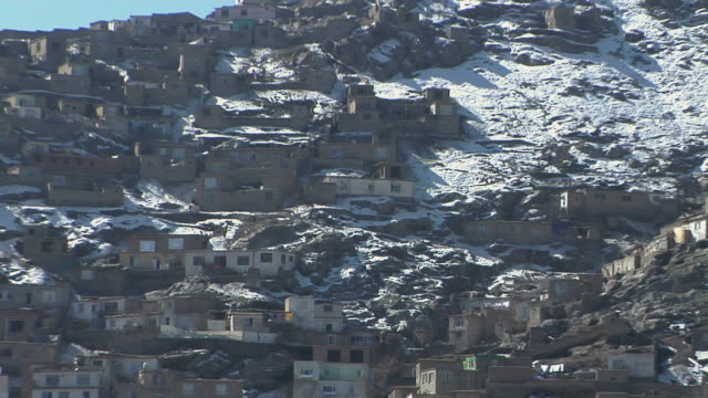 February 2009 WS ZO View of houses on mountain / Kabul Afghanistan