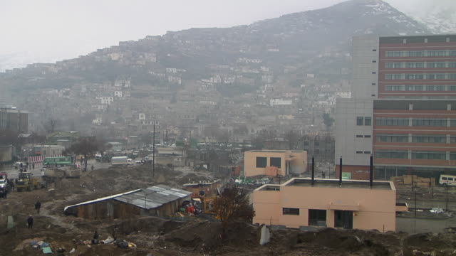 February 2009 WS View of village mountain in background / Kabul Afghanistan