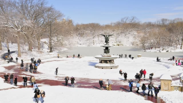 february 2013 winter storm, central park fountain, bethesda terrace, new york city, manhattan, usa february 2013 winter storm, central park fountain,... - 2013 stock videos & royalty-free footage