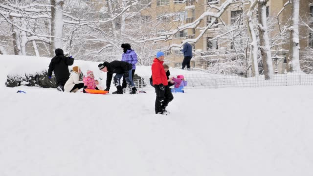 february 2013 winter storm, central park, new york city, manhattan, usa children sledding winter storm central park on february 09, 2013 in new york... - 2013 stock videos & royalty-free footage