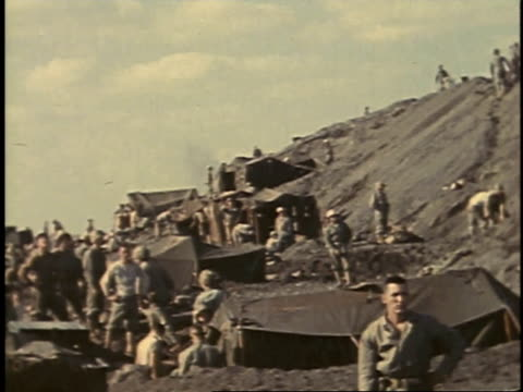 february 23 1945 montage general erskine talking to troops / iwo jima japan - battle of iwo jima stock videos and b-roll footage
