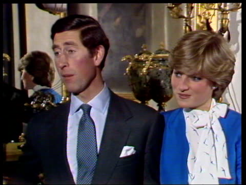 february 24 1981 ms prince charles and lady diana talking to the press shortly after announcing their engagement/ london england/ audio - 1981 stock videos & royalty-free footage