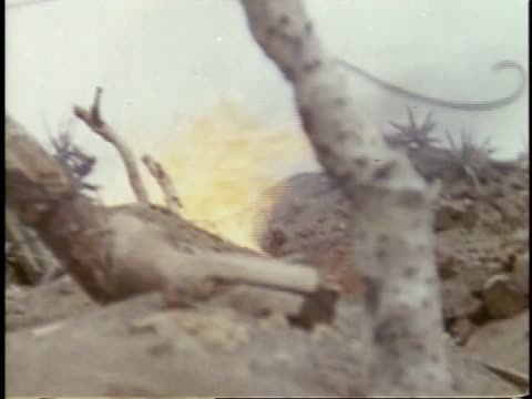 february 26, 1945 montage soldiers operating flame throwers, burning body / iwo jima, japan - guerra del pacifico video stock e b–roll