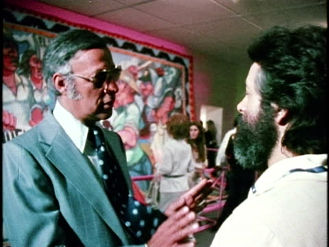 February 26 1974 MONTAGE Opening celebration of exhibition 'Los Four Almaraz de la Rocha Lujan Romero' at Los Angeles County Museum of Art California...