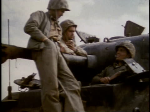 february 27 1945 montage soldiers talking and resting / iwo jima japan - battle of iwo jima stock videos and b-roll footage