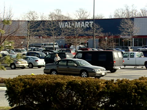 february 3 2006 zi walmart exterior showing logo / laurel maryland - laurel maryland stock videos & royalty-free footage