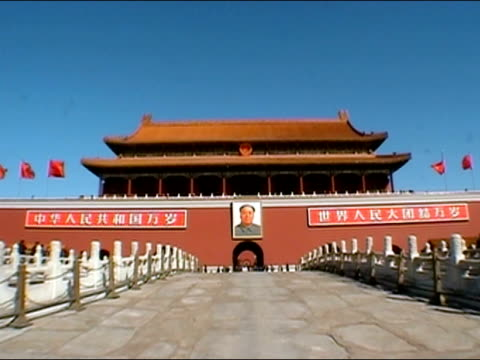 February 4, 2002 Wide shot of entrance to Imperial City at Tiananmen Square / Beijing, China
