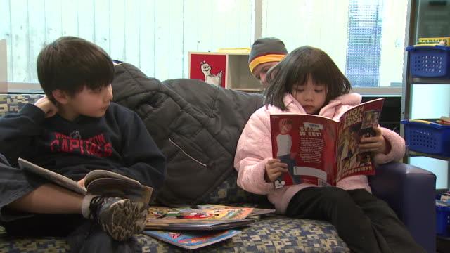 February 6 2009 HA Children reading in library / Arlington Virginia United States