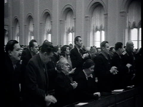vidéos et rushes de february 8, 1955. opening of the joined session of the soviet of the union and of soviet of nationalities, chairman of the soviet of the union deputy... - 1955