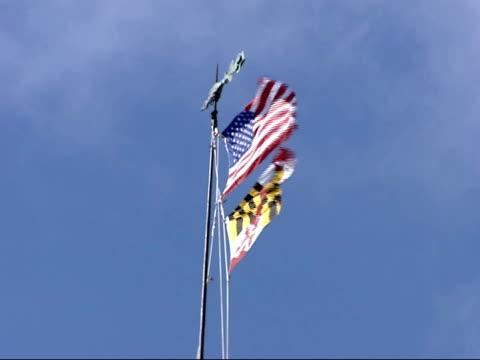 vídeos y material grabado en eventos de stock de february 9, 2006 american and maryland flags flying in the wind / annapolis, maryland, united states - capitolio estatal de maryland