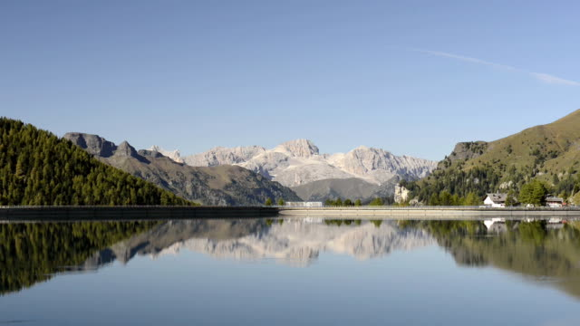 fedaia lake and marmolada mountains - val di fassa stock videos and b-roll footage
