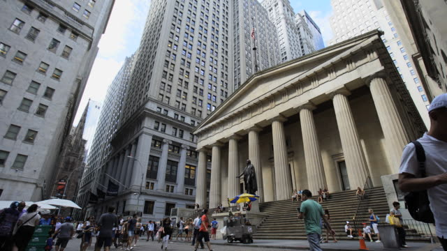 federal hall nyc - facade stock videos & royalty-free footage