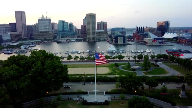 federal hill - baltimore, maryland - american flag stock videos and b-roll footage