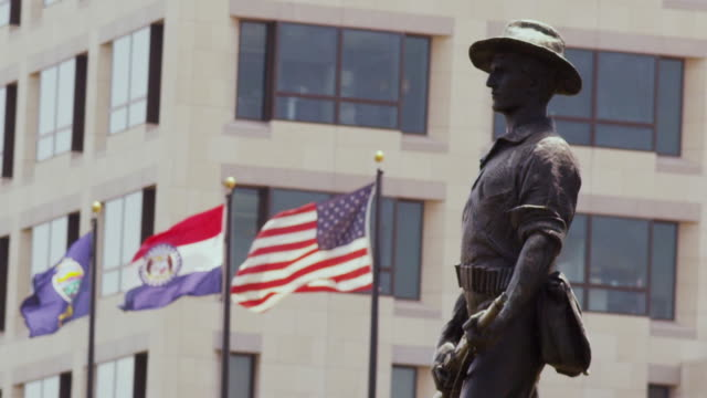 Federal Reserve Bank of Kansas City municipal building with flags and bronze statue of rough rider