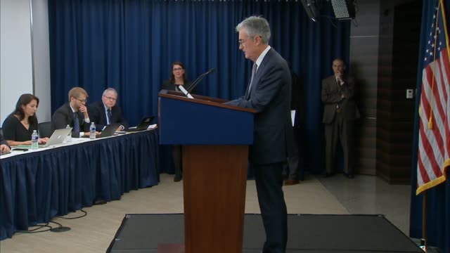 vídeos de stock, filmes e b-roll de federal reserve board chairman jay powell says at a quarterly press conference after a meeting of the federal open markets committee that with... - produto interno bruto