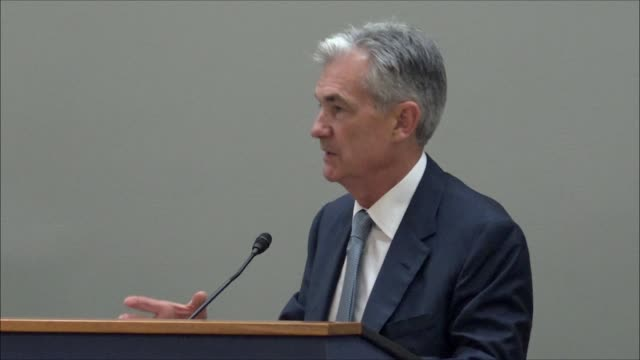 federal reserve board of governors chairman jerome powell tells a rhode island business group that the 2008 financial crisis made a point none can... - high point video stock e b–roll