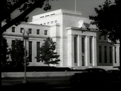 federal reserve building trees. int members of us national defense board sitting at half-round table. william knudsen & edward stettinius jr. at... - 1940 1949 video stock e b–roll