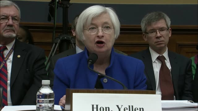 federal reserve chair janet yellen tells the house committee on financial services that since her last appearance, the economy has improved but that... - financial building stock videos & royalty-free footage