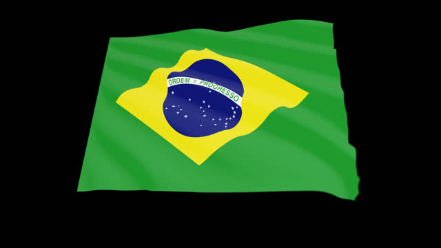federative republic of brazil flag blowing in the wind, 3d animation. seamless loop. - 連続文様点の映像素材/bロール