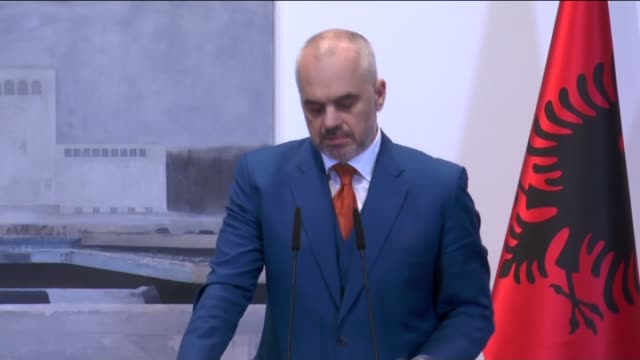 federica mogherini high representative of the european union for foreign affairs and security policy and albanian prime minister edi rama hold a... - tirana stock videos and b-roll footage