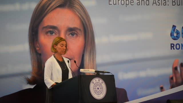 federica mogherini, high representative of the european union for foreign affairs and security policy, vice president of the european commission,... - italienischer abstammung stock-videos und b-roll-filmmaterial