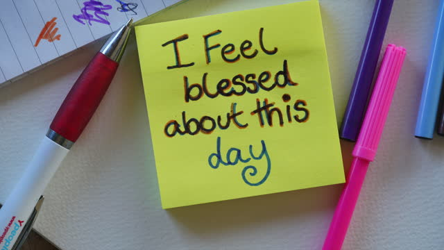 """""""feel blessed about this day"""" affirmation note - sticky stock videos & royalty-free footage"""