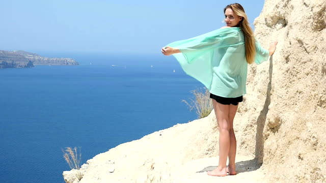 feeling as goddess of santorini - santorini stock videos and b-roll footage