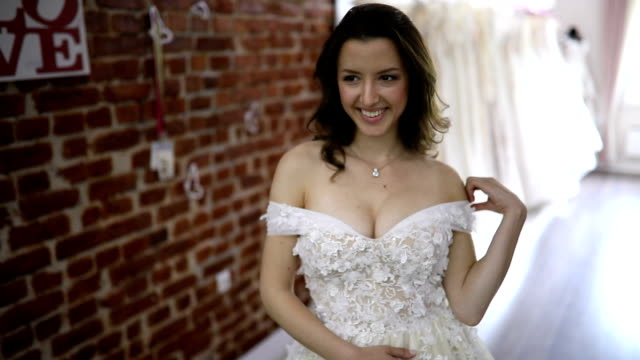 feeling gorgeous in a wedding dress - wedding dress stock videos and b-roll footage