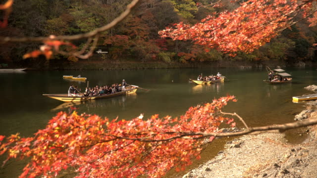 feeling Japanese culture by boat in Katsura river amid autumn Leaf forest