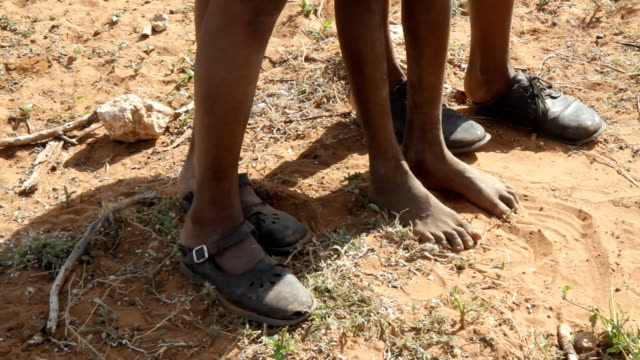 cu feet of himba children - barefoot stock videos & royalty-free footage
