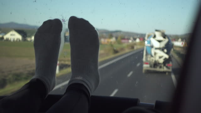 feet up on bus transportation - feet up stock videos and b-roll footage