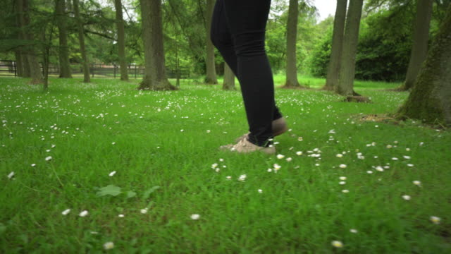 Feet walk through field of flowers