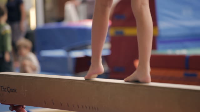 ts feet walking on balance beam / vancouver, british columbia, canada - gymnastics stock videos & royalty-free footage