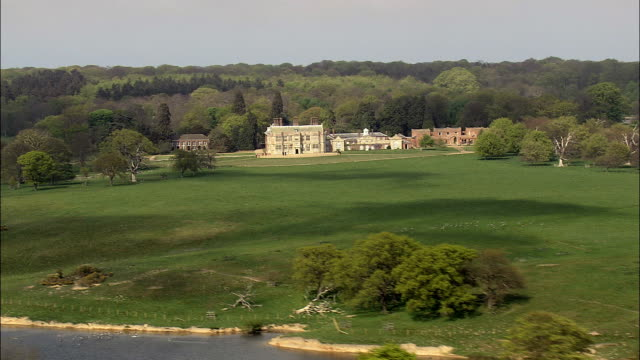felbrigg hall  - aerial view - england, norfolk, north norfolk district, united kingdom - norfolk england stock videos & royalty-free footage