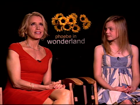 Felicity Huffman and Elle Fanning on their hopes for what the audience will take away from this film at the 'Phoebe in Wonderland' Junket at Los...